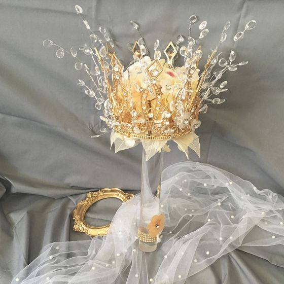 Lyx Champagne Brudbukett 2020 Handgjort Beading Kristall Blomma Rhinestone Brud Bröllop Bal Tillbehör