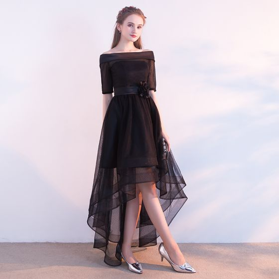 Chic / Beautiful Black Cocktail Dresses 2017 A-Line / Princess Off-The-Shoulder 1/2 Sleeves Flower Sash Asymmetrical Ruffle Backless Formal Dresses