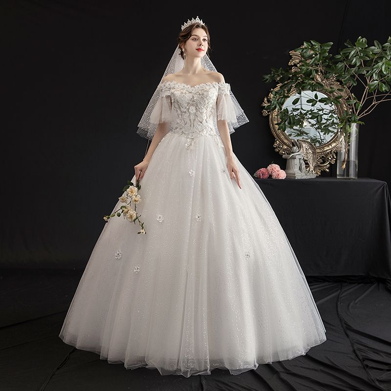 Affordable Ivory Outdoor / Garden Wedding Dresses 2019 A-Line / Princess Off-The-Shoulder Bell sleeves Backless Appliques Lace Flower Beading Glitter Tulle Floor-Length / Long Ruffle