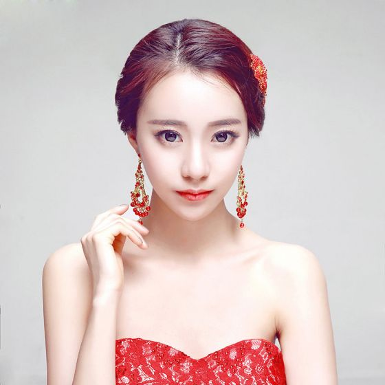 Rode Mode Haaraccessoires / Oorbellen Tweedelige