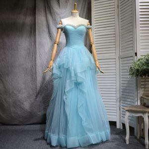 Chic / Belle Bleu Ciel Robe De Bal 2018 Princesse Faux Diamant Paillettes Volants en Cascade De l'épaule Dos Nu Sans Manches Longue Robe De Ceremonie