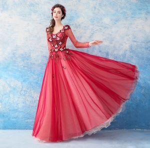 Lovely Red Floor-Length / Long Evening Dresses  2018 A-Line / Princess Tulle V-Neck Appliques Beading Backless Butterfly Sequins Evening Party Prom Dresses