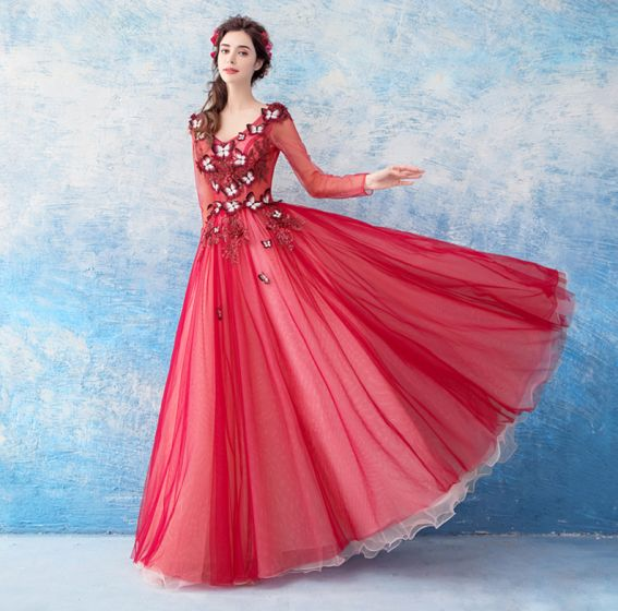 7f232d0d9c1 Lovely Red Floor-Length   Long Evening Dresses 2018 A-Line   Princess Tulle  V-Neck Appliques Beading ...