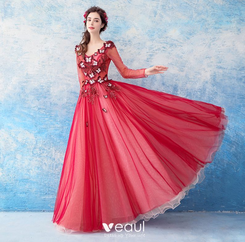 Lovely Red Floor-Length   Long Evening Dresses 2018 A-Line   Princess Tulle  V-Neck Appliques Beading Backless Butterfly Sequins Evening Party Prom  Dresses fbae08f27a62