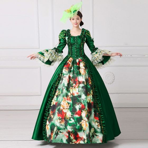 Vintage / Retro Medieval Dark Green Ball Gown Prom Dresses 2021 Square Neckline Floor-Length / Long Long Sleeve Square Flower Printing Cosplay Prom Formal Dresses
