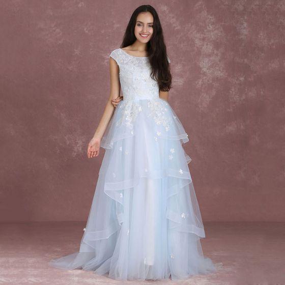 Eleganckie Błękitne Sukienki Na Bal 2018 Princessa Wycięciem Bez Rękawów Aplikacje Z Koronki Cekiny Trenem Sweep Kaskadowe Falbany Bez Pleców Sukienki Wizytowe