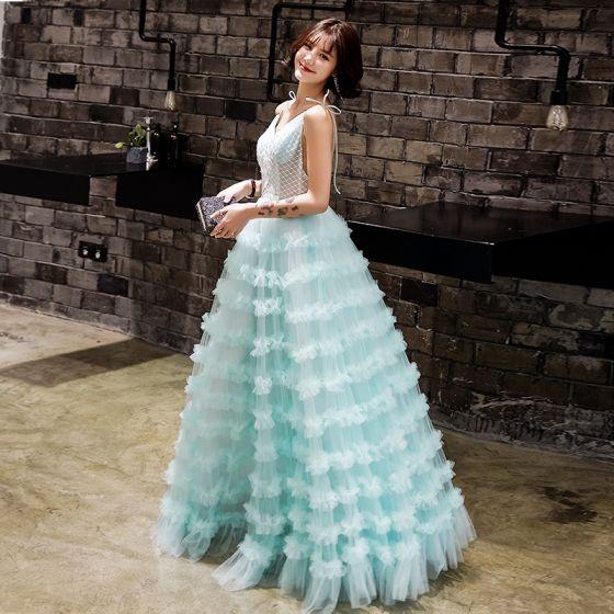 2b79d224c6 Stylowe   Modne Jade Zielony Sukienki Wieczorowe 2019 Princessa Kokarda  Spaghetti Pasy Wzburzyć Kwiat Bez Rękawów Bez Pleców Długie Sukienki  Wizytowe