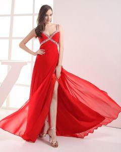Spaghetti Straps Floor Length Beading Pleated Chiffon Women Prom Dress