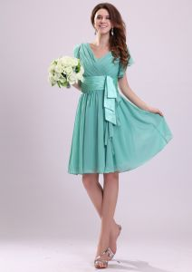 2015 Captivating V-neck Zipper Sash Bridesmaid Dresses