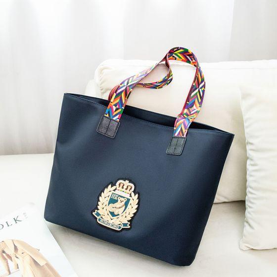 Mode Marineblau Wasserdichte Stickerei Tragetasche Schultertaschen Einkaufstasche 2021 Segeltuch Freizeit Damentaschen