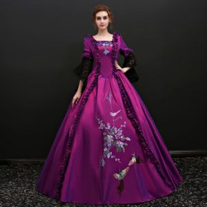 Vintage / Retro Grape Floor-Length / Long Prom Dresses 2018 Charmeuse 3/4 Sleeve U-Neck Ball Gown Backless Embroidered Prom Formal Dresses