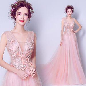 Elegant Pearl Pink Evening Dresses  2019 A-Line / Princess V-Neck Pearl Sequins Appliques Lace Flower Sleeveless Backless Chapel Train Formal Dresses