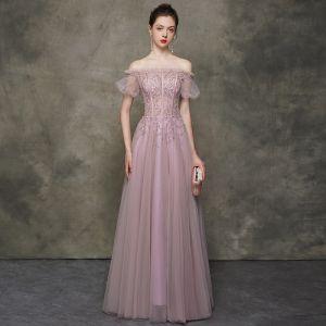 High End Rosa Abendkleider 2020 A Linie Off Shoulder Geschwollenes Kurze Ärmel Perlenstickerei Lange Rüschen Rückenfreies Festliche Kleider Tülle