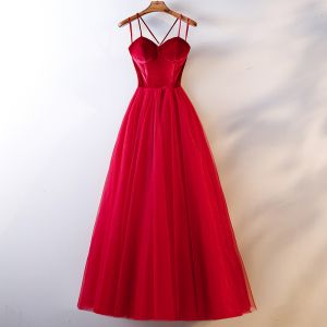 Chic / Beautiful Red Evening Dresses 2019 A Line / Princess Spaghetti Straps Bow Sleeveless Backless Floor Length / Long Formal