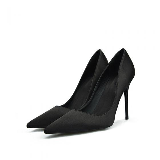 Modest / Simple Black Prom Satin Pumps 2020 10 cm Stiletto Heels Pointed Toe Pumps