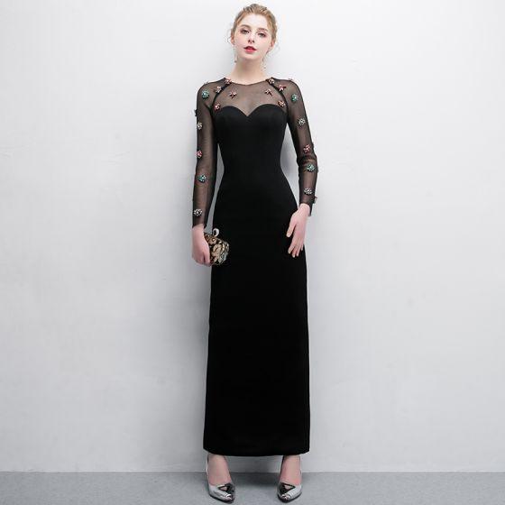 32ce5a0d73 Eleganckie Czarne Sukienki Wieczorowe 2018 Syrena   Rozkloszowane Kryształ  Wycięciem Przezroczyste Długie Rękawy Długość Kostki Sukienki Wizytowe