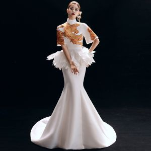 Chinese style Vintage / Retro Ivory Evening Dresses  2019 Trumpet / Mermaid High Neck Embroidered 1/2 Sleeves Backless Court Train Formal Dresses