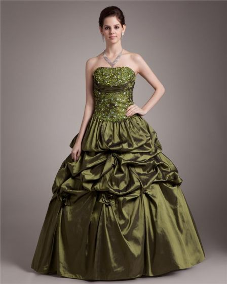 Ball Gown Satin Applique Ruffle Strapless Floor Length Quinceanera Prom Dresses