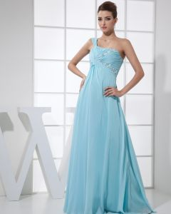 Strapless Sleeveless Zipper Floor Length Beading Ruffle Chiffon Silk Woman Evening Dress