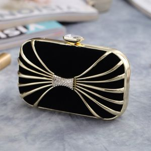 Chic / Beautiful Black Gold Rhinestone Square Clutch Bags 2020