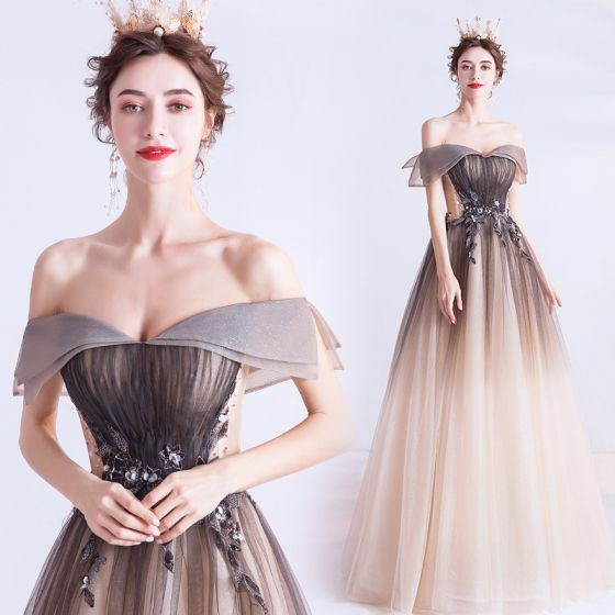 Elegant Chocolate Gradient-Color Prom Dresses 2020 A-Line / Princess Off-The-Shoulder Beading Sequins Short Sleeve Backless Floor-Length / Long Formal Dresses