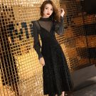 2 Piece Black See-through Party Dresses 2019 A-Line / Princess High Neck Long Sleeve Glitter Polyester Tea-length Ruffle Formal Dresses