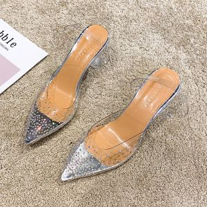 Transparent Silver Casual Rhinestone Womens Sandals 2020 9 cm Stiletto Heels Pointed Toe Sandals