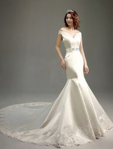 Mermaid Off The Shoulder Deep V-neck Beading Rhinestones Sash Ivory Satin Wedding Dress