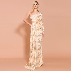 Chic / Beautiful Gold Evening Dresses  2020 Trumpet / Mermaid One-Shoulder Long Sleeve Sash Appliques Sequins Sweep Train Formal Dresses