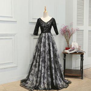 Flower Fairy Black Court Train Evening Dresses  2018 A-Line / Princess V-Neck Backless Printing Charmeuse Evening Party Prom Dresses
