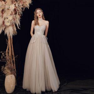 Chic Champagne Gris Dansant Robe De Bal 2020 Princesse Amoureux Sans Manches Perlage Longue Volants Dos Nu Robe De Ceremonie