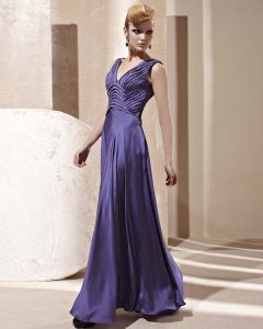 V Neck Beading Ruffle Sleeveless Floor Length Backless Charmeuse Woman Evening Dress
