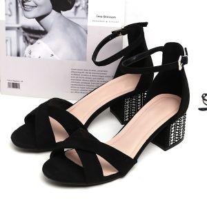 Hermoso Negro Ropa de calle Suede Sandalias De Mujer 2020 Correa Del Tobillo 5 cm Talones Gruesos Peep Toe Sandalias
