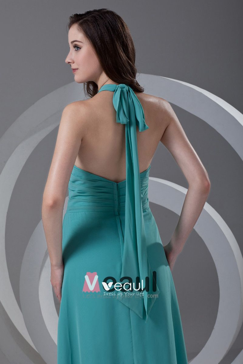 Halter Pleated Floor Length Chiffon Woman Bridesmaid Dress