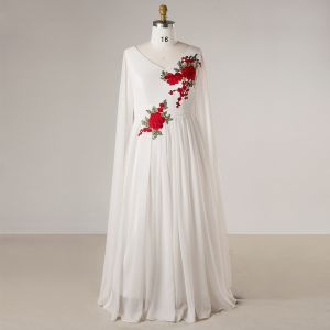 Chinese style White Plus Size Evening Dresses  2018 Zipper Up A-Line / Princess V-Neck Chiffon Embroidered Evening Party Formal Dresses