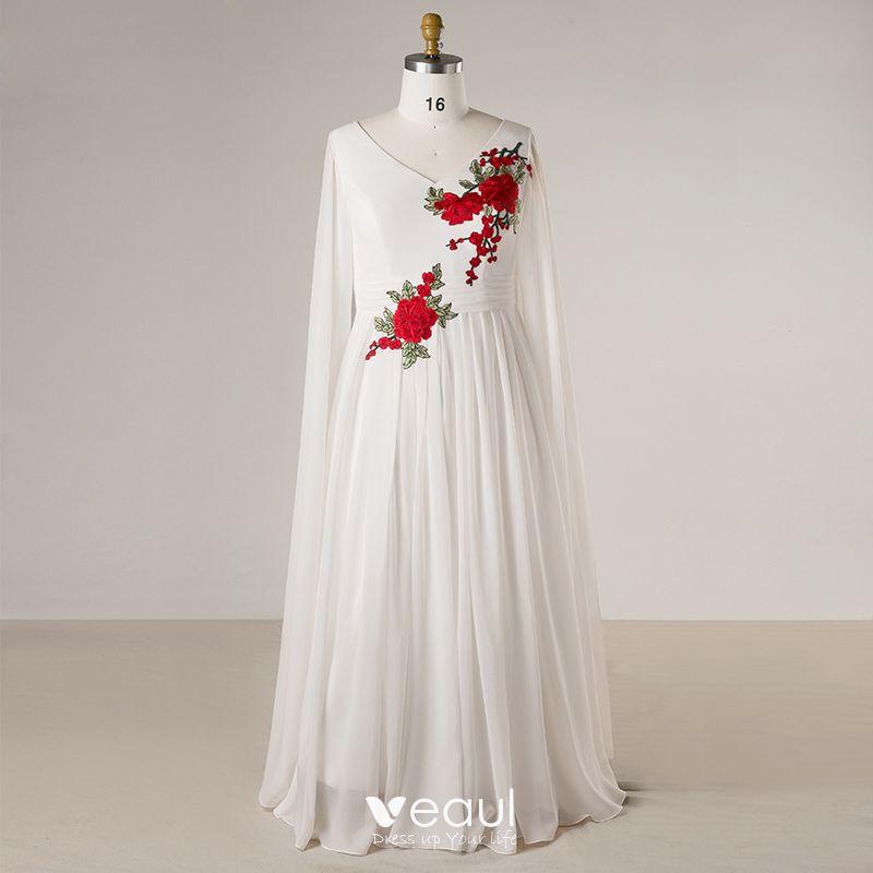 a3a62f3a6 Chinese style White Plus Size Evening Dresses 2018 Zipper Up A-Line / Princess  V-Neck Chiffon ...