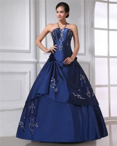 Ball Gown Satin Ruffle Embroidery Beaded Halter Floor Length Quinceanera Prom Dresses