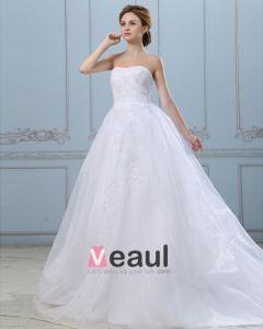 Appliques Axelbandslos Blixtlas Satin Organza Balklänning Brudklänningar Bröllopsklänningar
