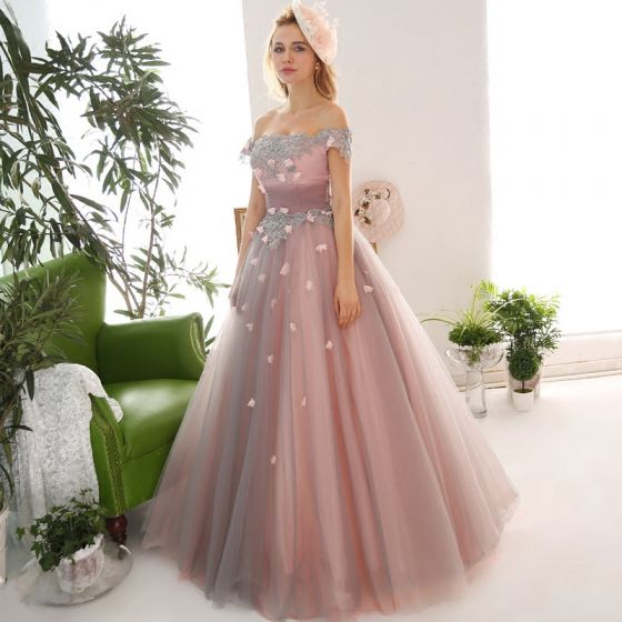 Vintage / Retro Blushing Pink Prom Dresses 2018 Ball Gown Appliques Beading Crystal Sequins Off-The-Shoulder Backless Sleeveless Floor-Length / Long Formal Dresses