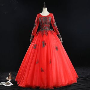 Elegant Red Prom Dresses 2019 Ball Gown Scoop Neck Beading Tassel Rhinestone Lace Flower Long Sleeve Backless Floor-Length / Long Formal Dresses