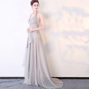 Chic / Beautiful Silver Evening Dresses  2017 A-Line / Princess Tulle Halter Backless Zipper Pierced Beach Evening Party Formal Dresses