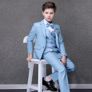 Fashion Sky Blue Striped Boys Wedding Suits 2020