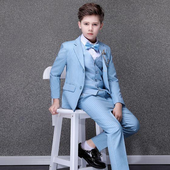 Fashion Sky Blue Striped Boys Wedding Suits 2020