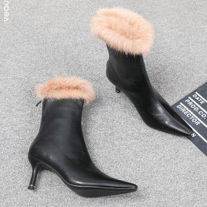 Mode Vinter Gatukläder Svarta Plysch Stövlar Dam 2020 Stövletter Läder 7 cm Stilettklackar Spetsiga Stövlar