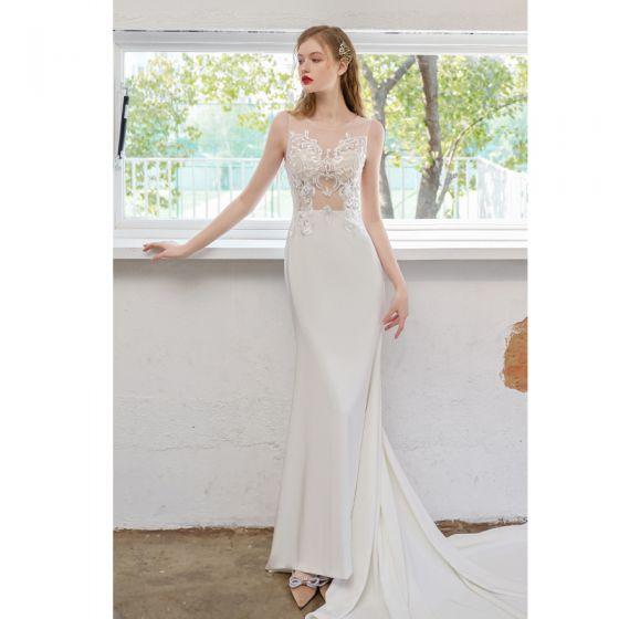 Proste / Simple Kość Słoniowa Suknie Ślubne 2021 Syrena / Rozkloszowane Wycięciem Z Koronki Kwiat Bez Rękawów Bez Pleców Trenem Sąd Ślub