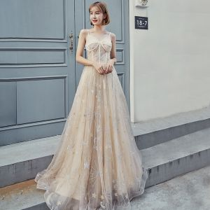 Modern / Fashion Champagne Prom Dresses 2019 A-Line / Princess Spaghetti Straps Sleeveless Star Appliques Lace Floor-Length / Long Ruffle Backless Formal Dresses