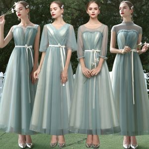 Affordable Sage Green Bridesmaid Dresses 2020 A-Line / Princess Sash Ankle Length Ruffle Backless Wedding Party Dresses