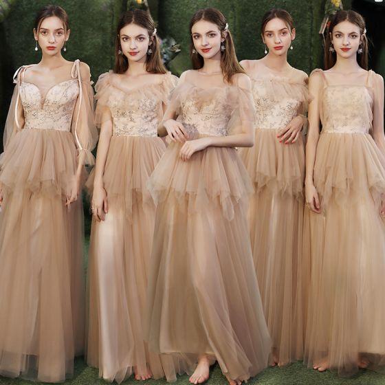 Erschwinglich Champagner Brautjungfernkleider 2020 A Linie Applikationen Pailletten Rückenfreies Lange Rüschen