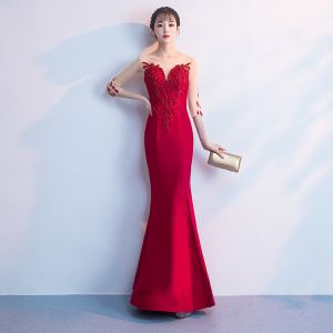 Chic / Beautiful Red Floor-Length / Long Evening Dresses  2018 Trumpet / Mermaid Tulle U-Neck 3/4 Sleeve Appliques Beading Formal Dresses