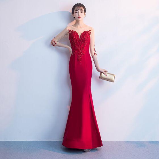 Chic / Beautiful Red Floor-Length / Long Evening Dresses  2018 Trumpet / Mermaid Tulle U-Neck 3/4 Sleeve Appliques Beading Formal Dresses